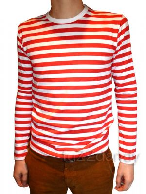 Mens Longsleeve Stripey Top (red & white)